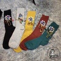 2016 New Women Socks Custom Girl Socks Popular Logo Candy Color Beads Sequins Diamond Tassel Tube