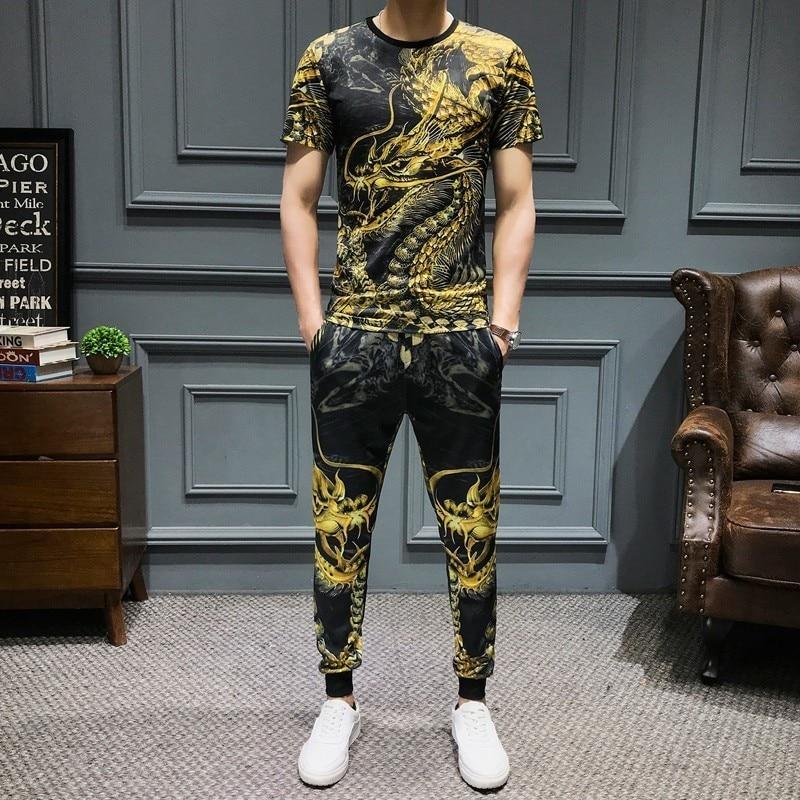 Tracksuit Sportswear Pants Jogger Suit Slim Fit 2-piece Set Harem Pants Summer Dragon Printed Men Set Causal T Shirt Men 2Pcs