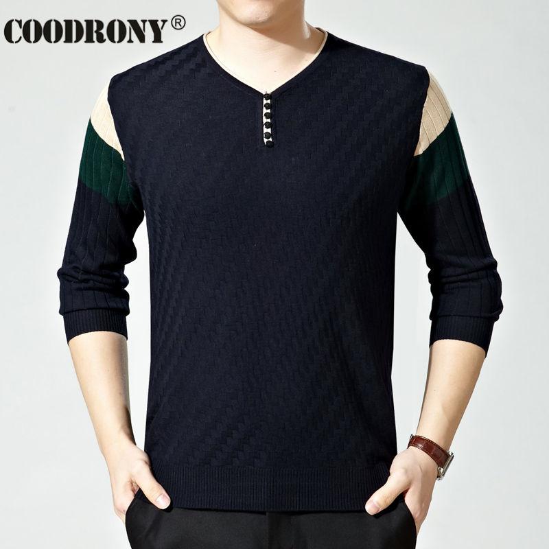 Free Shipping High Quality Button V Neck Wool font b Sweater b font font b men
