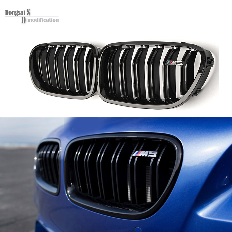 5 série F10 Brillant Noir Double Latte M5 Style Avant Calandre Grill Pour BMW F10 520i 523i 525i 530i 535i 2010 +
