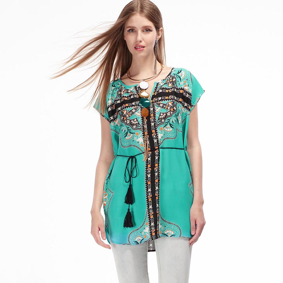 Bohoartist Chiffion Casual Short Sleeve Folk Embroidery Sexy V Neck Blouse Tassel Sashes Printed Top Loose Shirts Hot Sle Summer
