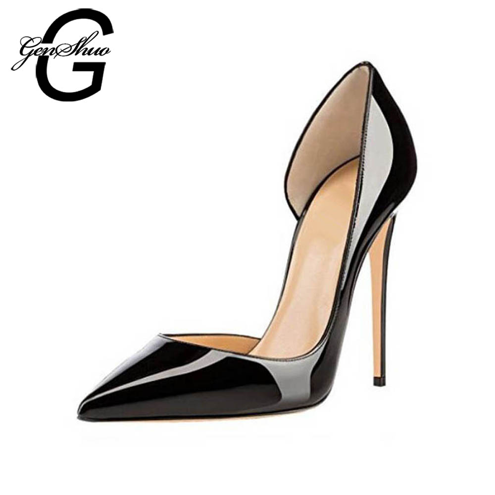 GENSHUO High Heels Shoes 10cm Women Pumps Pointed Toe High Heel Slip on Stiletto Prom Wedding Party Basic Shoes Black Nude Heels sequined high heel stilettos wedding bridal pumps shoes womens pointed toe 12cm high heel slip on sequins wedding shoes pumps
