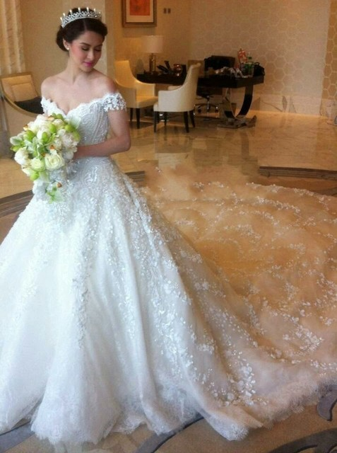 ca86903cf Wedding Dresses long Tail A Line V Neck Floor Length Luxury See through  Back Bridal Gowns
