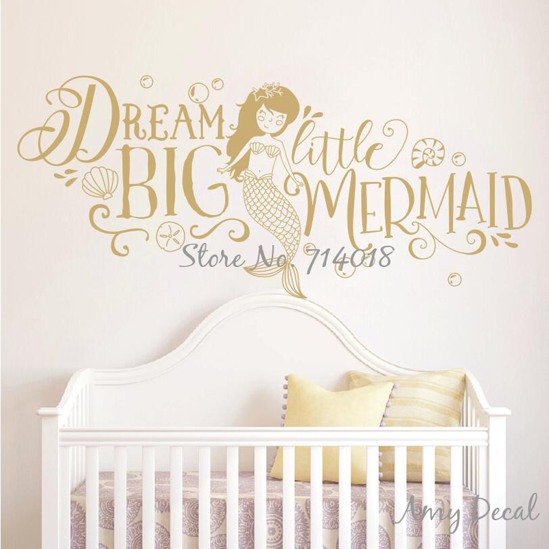 US $8.98 25% OFF|Dream Big Little Mermaid Wall Sticker Girls Nursery Decor  Cute Mermaid Quote Wall Stickers Kids Room Decoration Vinyl Mural A868-in  ...