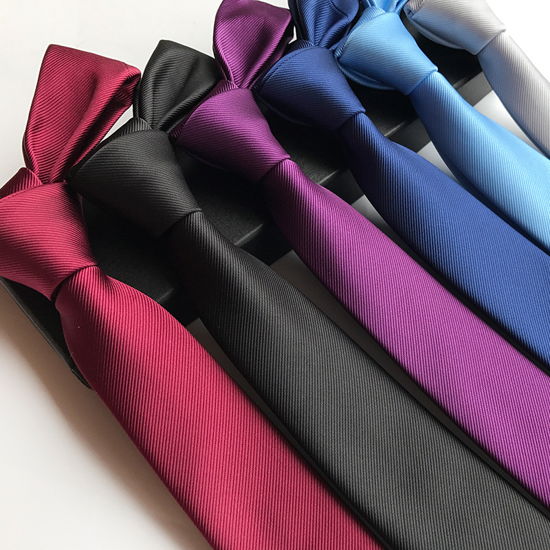2018 New Silk 6cm Narrow Plain Tie Solid Fashion Suit Tie For Wedding Gifts