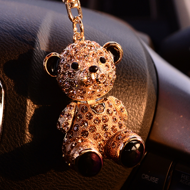 Cute teddy bear crystal key chain female fashion key chain car key pendant with crystal gifts 3.3cm*6cm free shipping