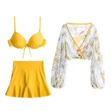 купить Bikini 2019 Women Print Swimwear Tankini Halter Swimdress Beachwear Swimwear Women Sexy bikini set Swimming Suits Female по цене 2735.51 рублей