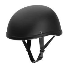 Matte Black Motorcycle Half Helmet Skull Cap Low Profile Novelty For Harley Chopper