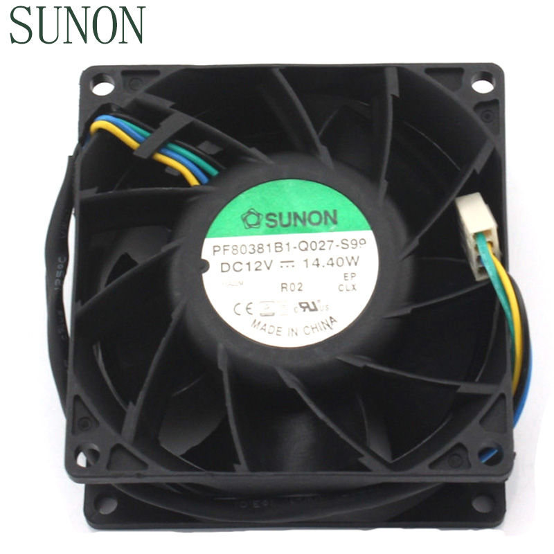 SUNON PF80381B1-Q027-S99 DC12V 14.40W 8038 80*80*38mm powerful axial pwm cooling fan delta ffb0824vhe 8038 dc 80 80 38mm dc 24v 0 25a 4200rpm 57 21cfm cooling fan