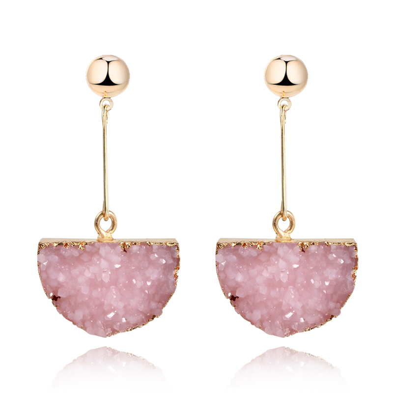 1Pair Resin Stone Druzy Earings For Women Smykker Håndlavet Halvcirkel Drusy Drop Dangle Earing Eardrop Lange Øreringe E157