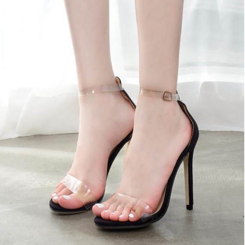 Hot Sale Women Platform Sandals 11.5CM Super High Heels Waterproof Female Transparent Crystal Wedding Shoes Women Sandal Shoes charming pvc women platform sandals 17cm super high heels waterproof female transparent crystal wedding shoes sandalia feminina
