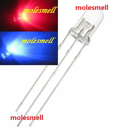 1000pcs 5mm Dual Bi-Color Red/Blue Bright 3-Pin Led Common Cathode Leds Lamp 5mm water clear 3pin R/B led