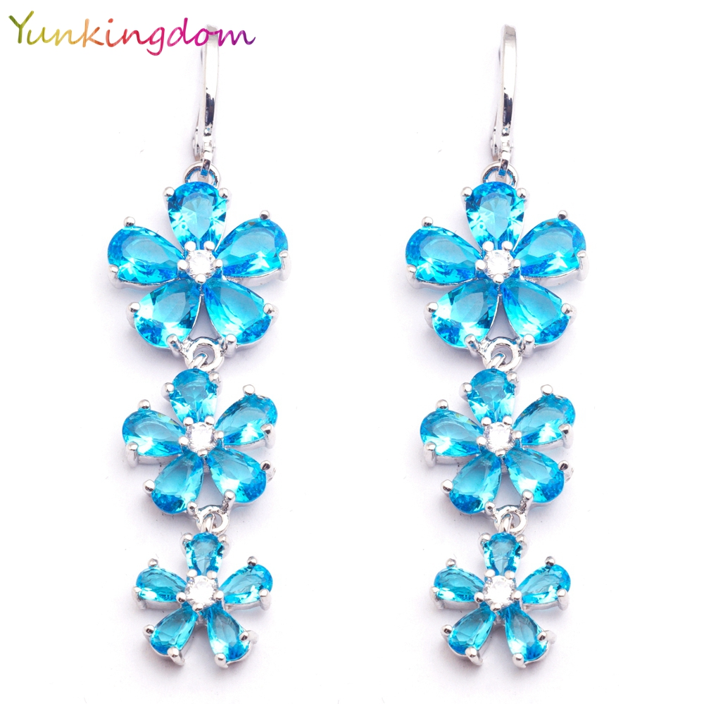 Yunkingdom Tiga Bunga Desain Cahaya Biru CZ Kristal Menjuntai Panjang Drop Earrings Fashion Jewelry Costume Earring LPK1527