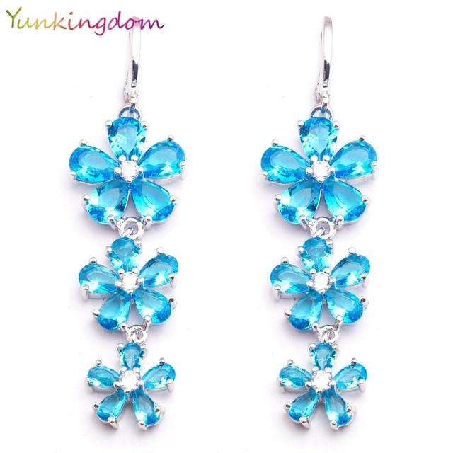 Yunkingdom Three Flowers Design Light Blue Cz Crystal Dangle Long Drop Earrings Fashion Costume Jewelry Earring