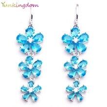 Yunkingdom Three Flowers Design Light Blue CZ Crystal Dangle Long Drop Earrings Fashion Costume Jewelry Earring LPK1527