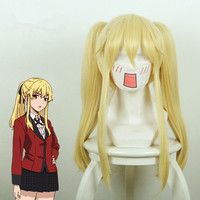 New Anime Kakegurui Saotome Meari Cosplay Wigs Halloween Party Stage Play Women Girls Light Gold Long