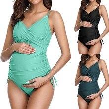 Женский купальник танкини для беременных, сплошной принт, бикини, купальник, пляжная одежда, костюм для беременных stroje k pielowe damskie, высокая талия, бикини HOOLER