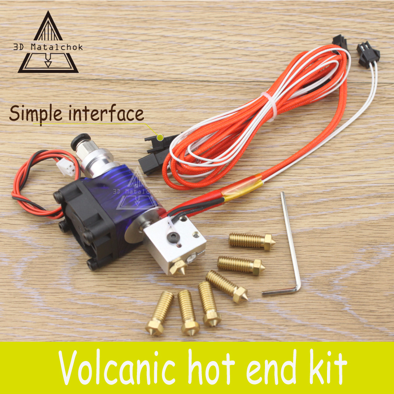 3D Printer accessories parts 12V/24V J-head Hotend Volcano Simple Extruder kit for 1.75mm/3.0mm Filament+7pcs 0.2mm-1.2mm Nozzle montessori educational wooden toys for children preschool alphabet classification box math car abacus learning baby boy girl kid