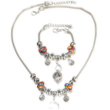 6 Colors Rose Necklace Bracelet Set Lobster Clasp Silver Bead Hollow Chain Beaded Bracelet With Hook DIY Making Pendant Jewelry(China)