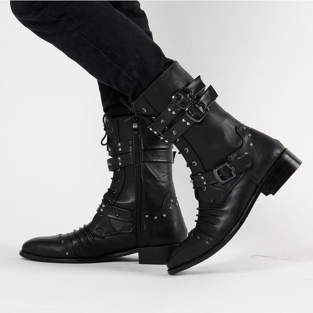 Meados Bezerro Rebites Do Punk Rua Sapatos Da Moda Homem Inverno Botas Pretas Fivela Gótico Rendas Até Meados de Bezerro Botas Sapatos SMYLMX-E0016