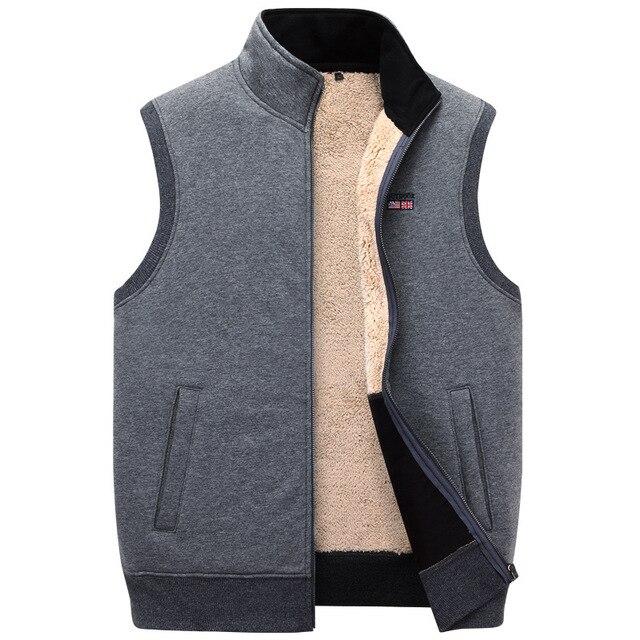 ICPANS Winter Thick Cotton Vests Mens Loose Thicken Fleece Vest Waistcoat  Mens Outerwear Men Coats Plus Size XXXXXL