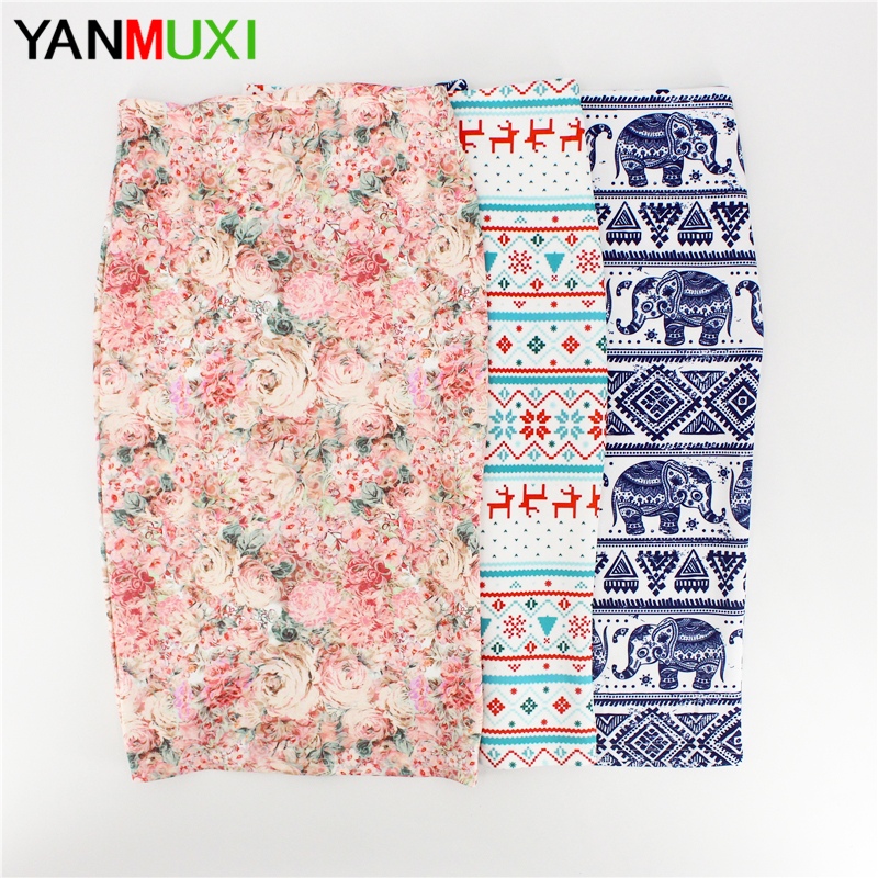 Hot sale novelty geometric print women casual faldas pencil skirts 2017 western fashion design vogue girl ethnic slim bottoms