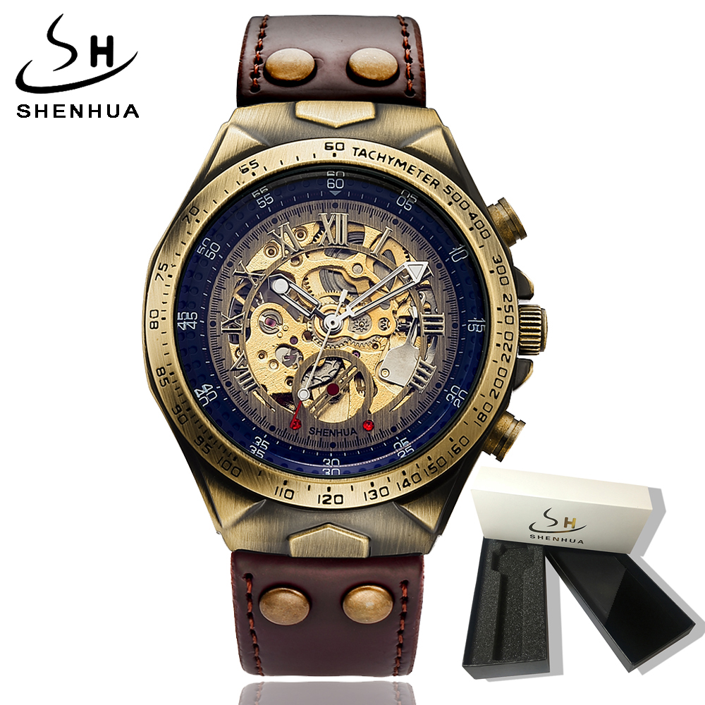 2018 Steampunk Skeleton Transparent Watch Men Mechanical Automatic Self Winding Mens Watches Leather Wristwatch Mechanic Watch 2016 hot sale auto mechanical self winding leather strap automatic silver mens watch black page 4