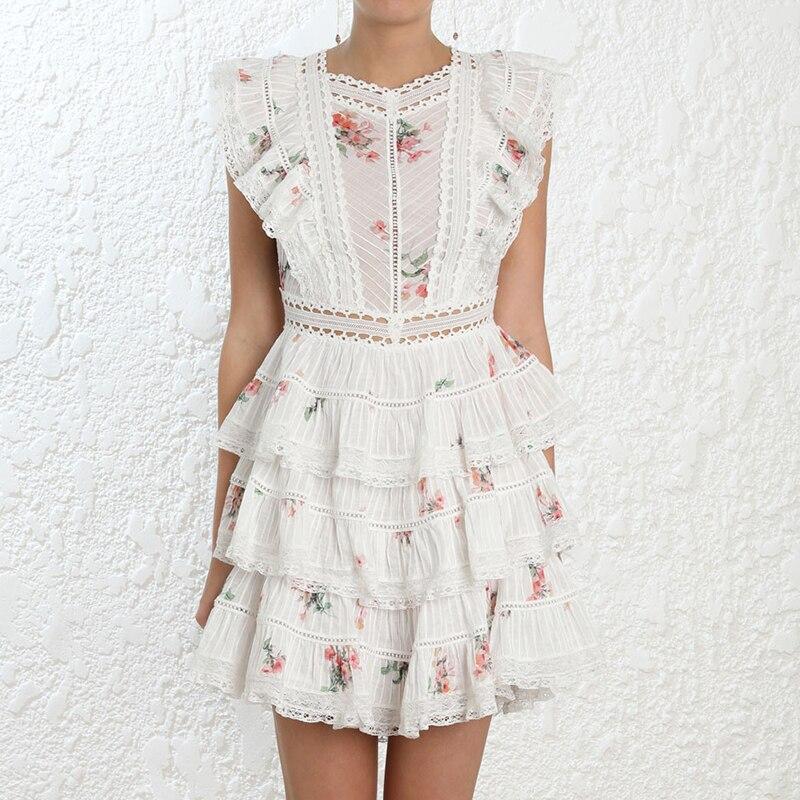 Robe à imprimé Floral 2019 été dentelle à plusieurs niveaux robe en coton femmes de luxe robe de soirée femelle pétale manches à volants courte mini robe