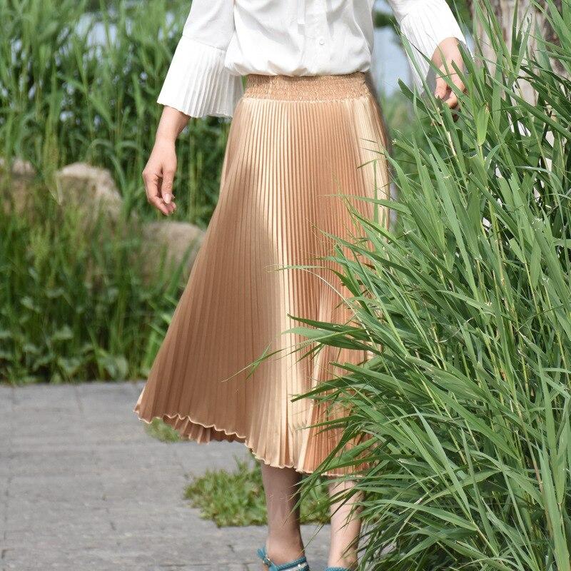 2017 Verë e Re Stretch Moda e Re Bright Pleated Women Gratë Një - Veshje për femra - Foto 6