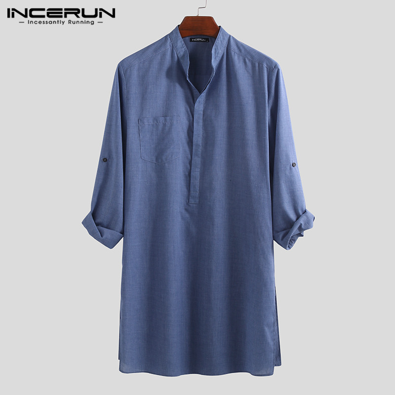 INCERUN 2019 Vintage Men Shirt Long Sleeve Stand Collar Solid Casual Tops Camisa Loose Men Long Shirts Leisure Clothing S-5XL