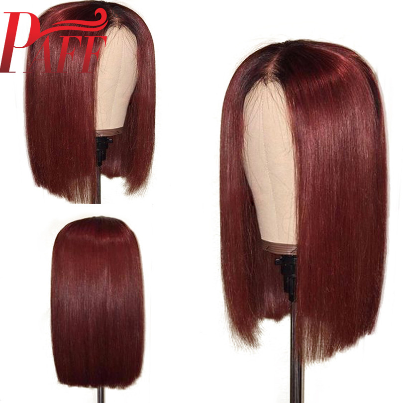 PAFF Short Bob Glueless 13 3Lace Front Human Hair Wigs Ombre 99J Color 150 Density Red