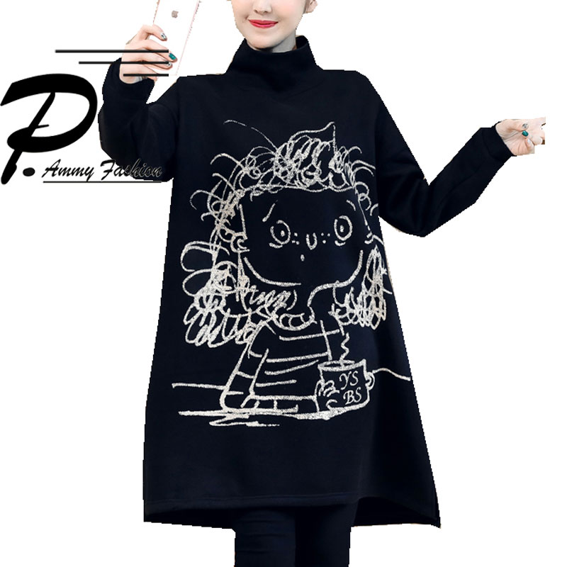Hot Plus Size Fleece Lining Turtleneck Thicken Warm Jumper Sweatshirt 2018 Winter Character Long Tunic Cute Lady Voguee Pullover