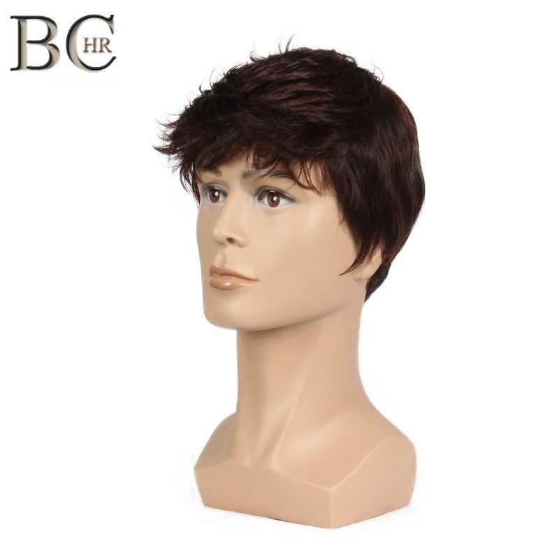 BCHR Kısa Erkekler Peruk Düz Sentetik Peruk Erkek Saç Fleeciness Gerçekçi Doğal Kahverengi Peruk Peruk