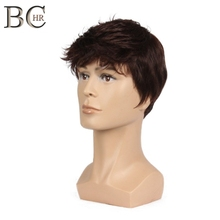BCHR Short Men Wig Straight Synthetic Wig for Male Hair Fleeciness Realistic Natural Brown Toupee Wigs недорого
