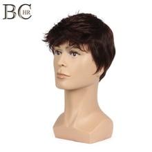 Короткий мужской парик BCHR, прямой синтетический парик для мужчин, флисовые реалистичные натуральные коричневые, светлые, черные парики