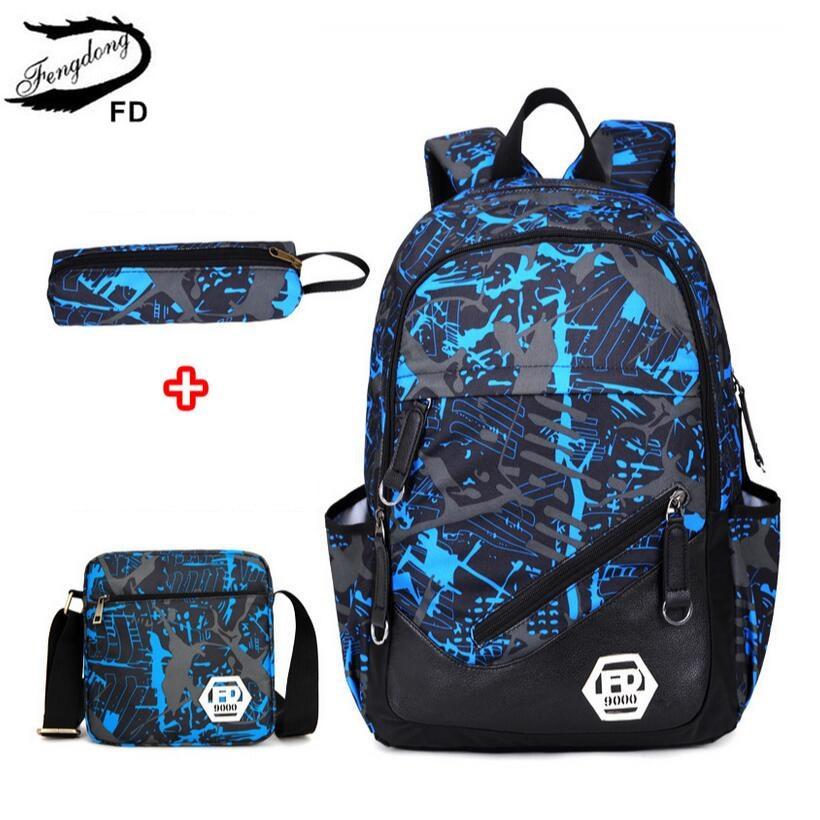 FengDong Waterproof Oxford Fabric Boys School Bags Backpack For Teenagers Pencil Case  Book Bag Set Boy One Shoulder Schoolbag