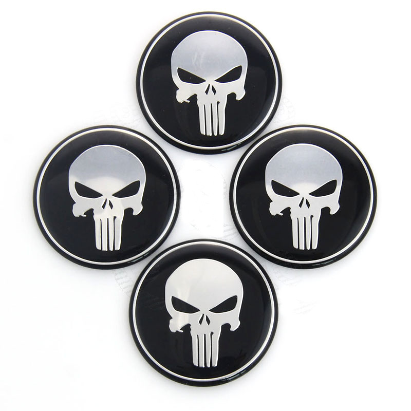 4pcs Punisher Skull Logo Car Tyre Steering Wheel Center Hub Cap Emblem Decal Badge Symbol Sticker 45mm 50mm 55mm 60mm 65mm