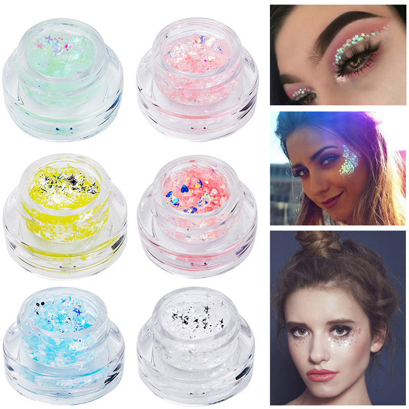 Creative Handaiyan Festival Body Glitter Makeup Highlighter Mermaid Sequin Cream Gel Hair Shimmer Lips Eye Shadow Glitter Tattoo Pigment Body Glitter