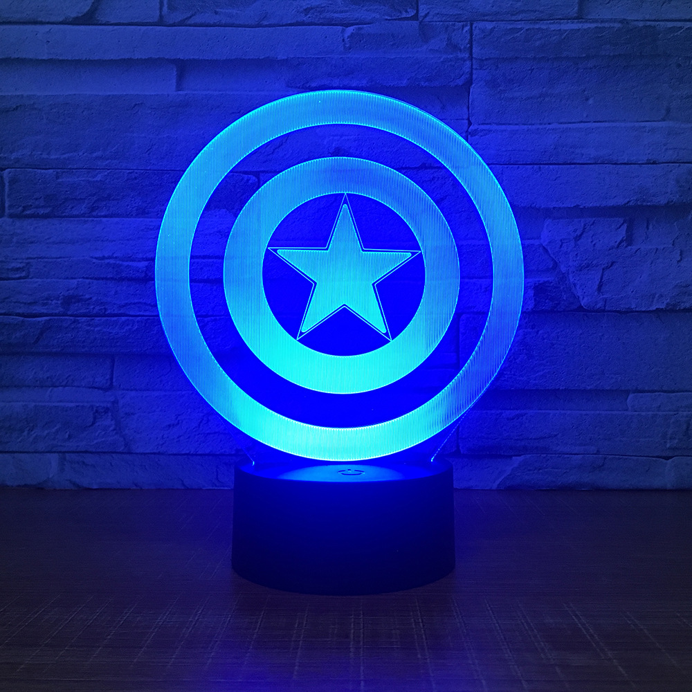 Captain America Shield Theme 3D LED Lamp Night light 7 Colors Change Touch Mood Lamp Christmas Present Table Lamp Dropshipping