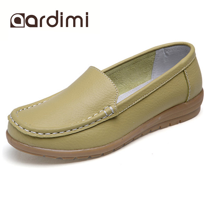 Genuine leather summer women flats shoes female casual flat shoes women loafers shoes slips soft leather red flat women's shoes