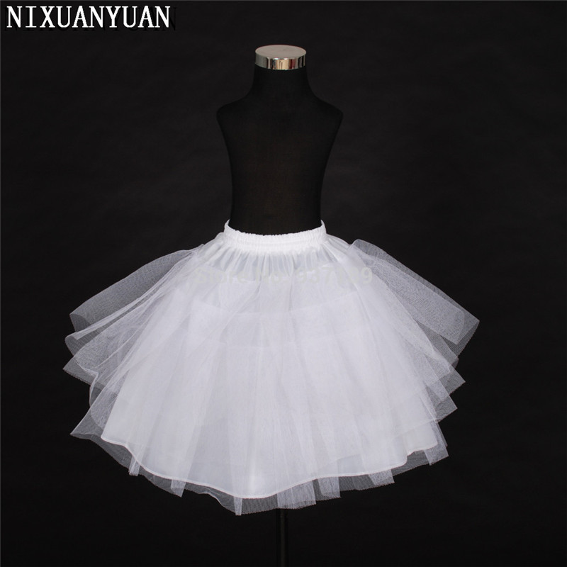 2019 Free Shipping Top Quality Stock Three Layer Net White A-Line Flower Girl Dress Petticoat / Child Crinolines/Underskirt