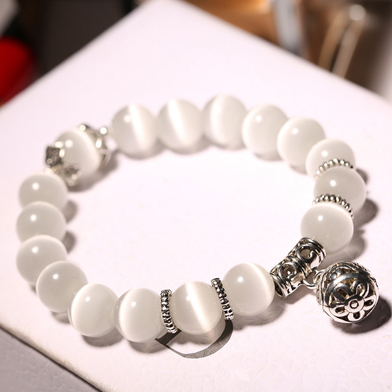 Natural Opal Beads Bracelets Crystal Fashion Women Bracelet Vintage Stainless Steel Braceletes For Women