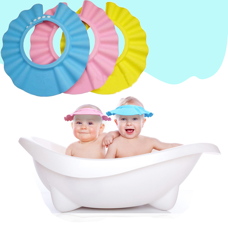Adjustable Kids Shower Cap Baby Wash Hair Hat Soft Kids Baby Care Bath Protection for Kid Shower Accessory 3 Colors
