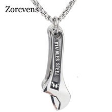 ZORCVENS Punk Gothic Wrench Spanner 316L Stainless Steel Necklaces Corrosion Men Jewelry Silver Color Link Chain Punk Gifts(China)