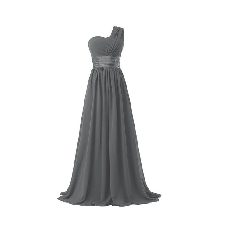 One Shoulder Chiffon Formal Party Long Bridesmaid Dress
