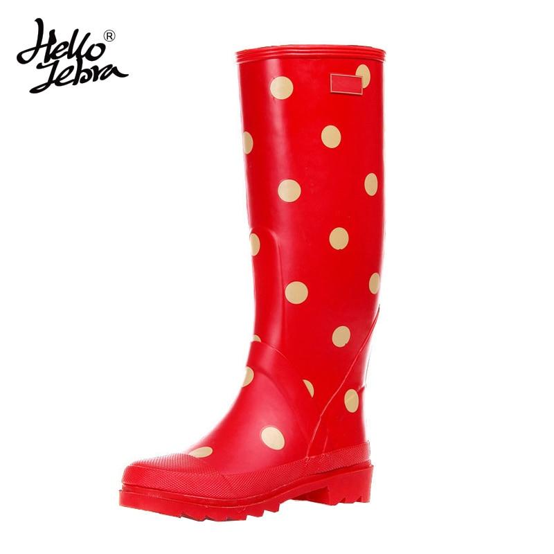 Hellozebra Women Polka Dot Tall Rain Boots Lady Low Heels Waterproof Knee-High Welly Spot Buckle High Style Nubuck Rainboots hellozebra women rain boots lady low heels solid plain elatic waterproof welly buckle nubuck rainboots 2016 new fashion design