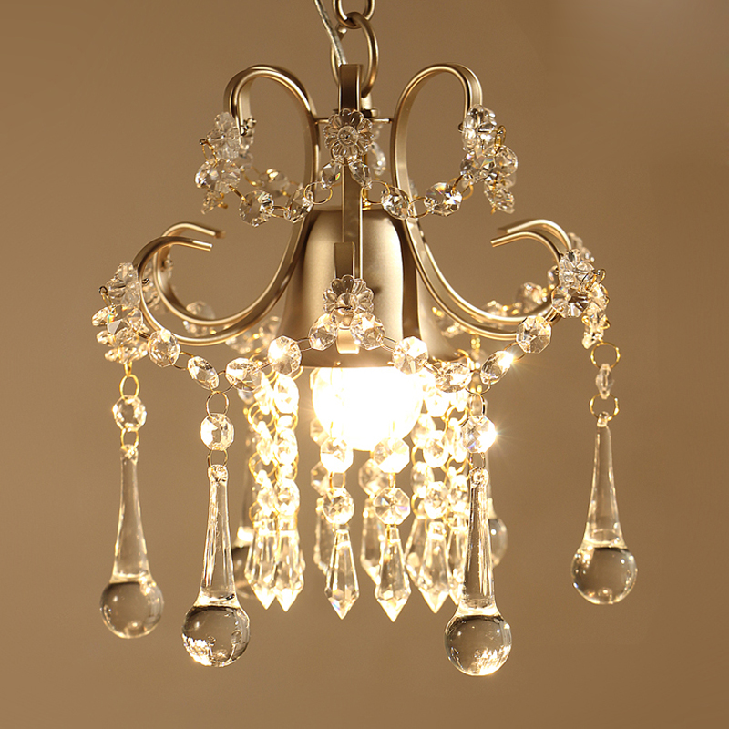 American rural creative personality simple crystal chandelier single bedroom aisle balcony entrance crystal small hang lamps LED 25x38mm fully enclosed type reinforced nylon engineering tank chain for cnc route machine