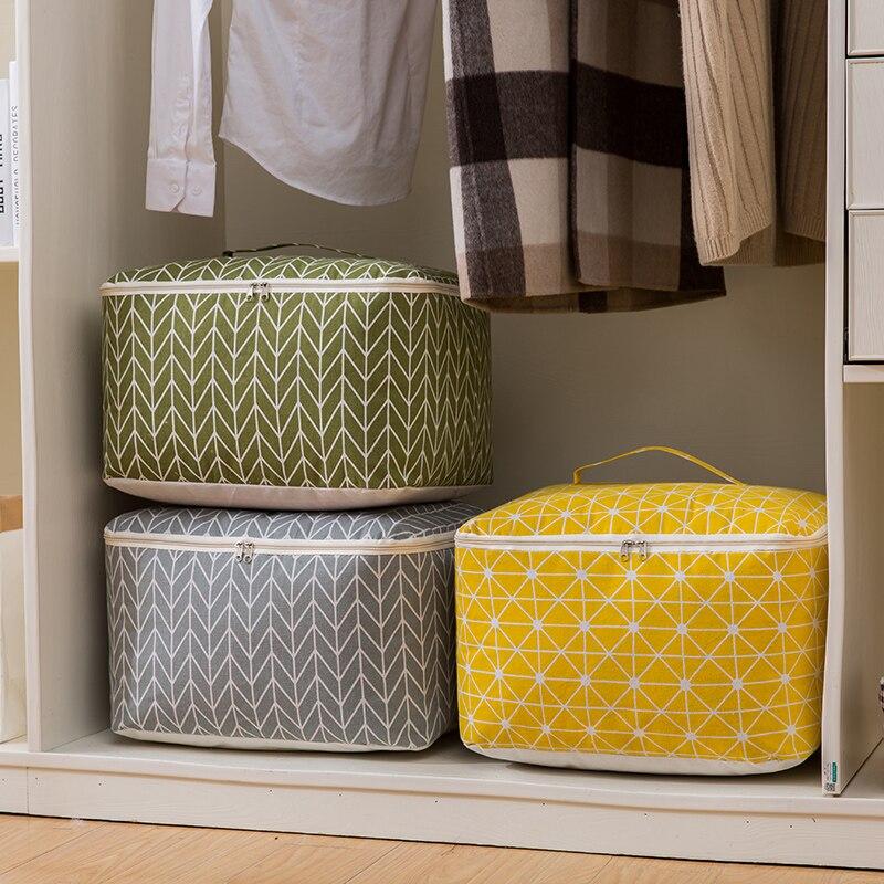 d34f636866 Nova Colcha de lençóis de algodão grande saco de armazenamento de  dobramento organização armazenamento doméstico brinquedo caixas caixa de ...