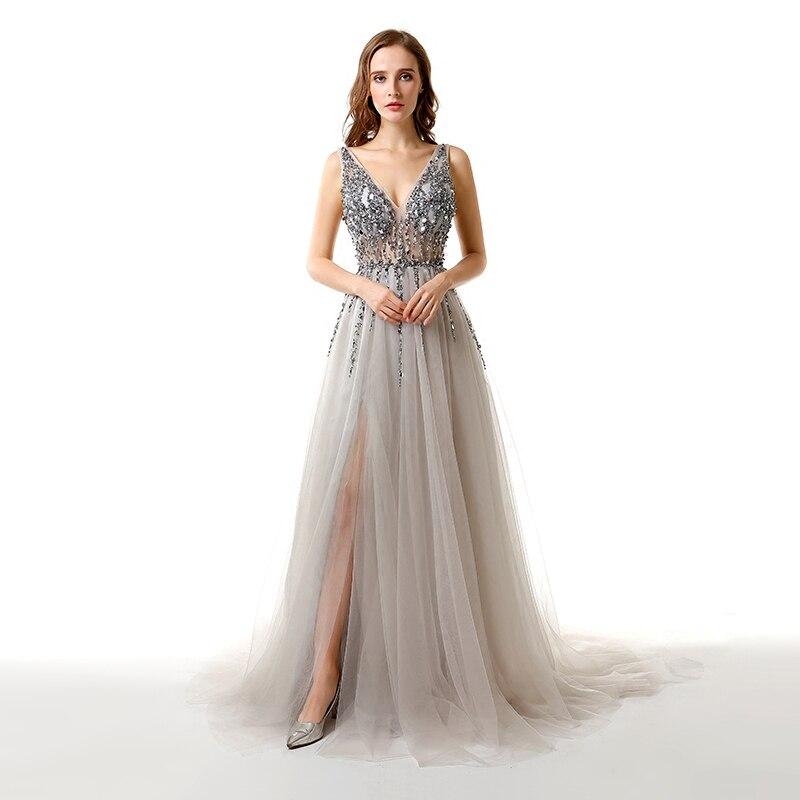 Strass magnifiques nouvelles robes de soirée Sexy col en V profond Vestidos dubaï turc arabe liban robe de bal fête formelle Aibye
