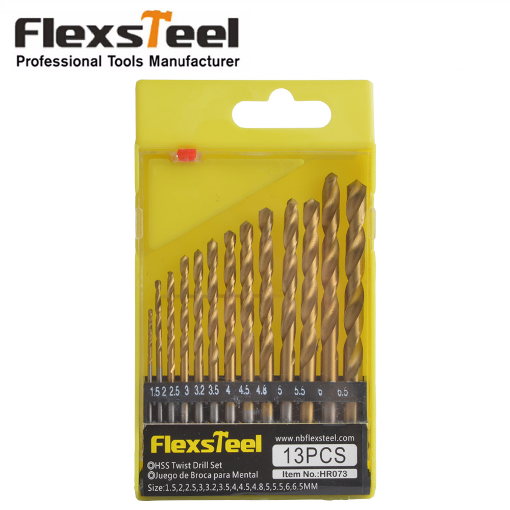 Flexsteel 13PCS HSS4241 High Speed Steel Titanium Sliver Plated Manual Hand Twist Drill Bits Set 1/4 Hex Shank 1.5-6.5mm